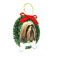 Lhasa Apso Wreath and Bone Ornament