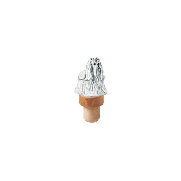 Maltese Figurine Cork Bottle Stopper