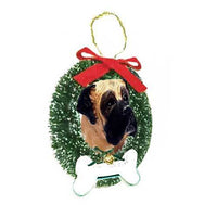 Mastiff Wreath and Bone Ornament
