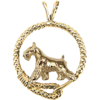 Solid 14K Gold Miniature Schnauzer Leash Pendant