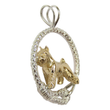 Solid 14K Gold Miniature Schnauzer in Sterling Silver Leash Pendant