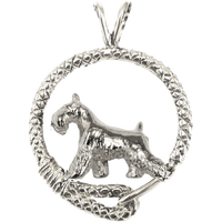 Miniature Schnauzer in Solid Sterling Silver Leash Pendant