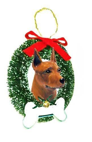 Miniature Pinscher Wreath and Bone Ornament