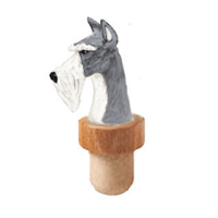 Miniature Schnauzer Head Cork Bottle Stopper