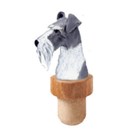 Miniature Schnauzer Natural Ears Head Cork Bottle Stopper