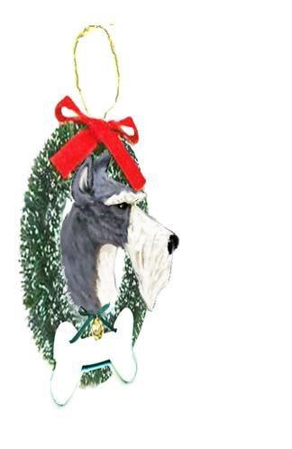Miniature Schnauzer Wreath and Bone Ornament