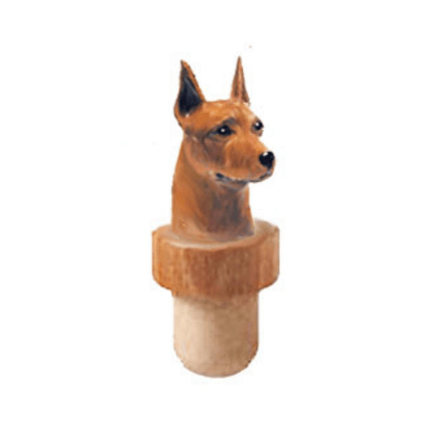 Miniature Pinscher Head Cork Bottle Stopper