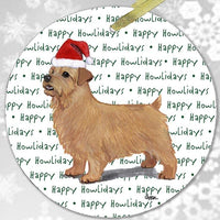 "Norfolk Terrier ""Happy Howlidays"" Ornament"