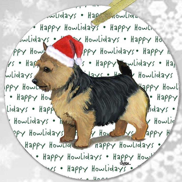 "Norwich Terrier, Black Saddle ""Happy Howlidays"" Ornament"