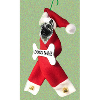 Norwegian Elkhound Santa Bone Ornament