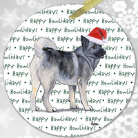 "Norwegian Elkhound ""Happy Howlidays"" Ornament"