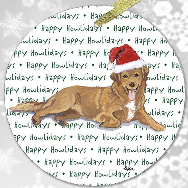 "Nova Scotia Duck Tolling Retriever ""Happy Howlidays"" Ornament"