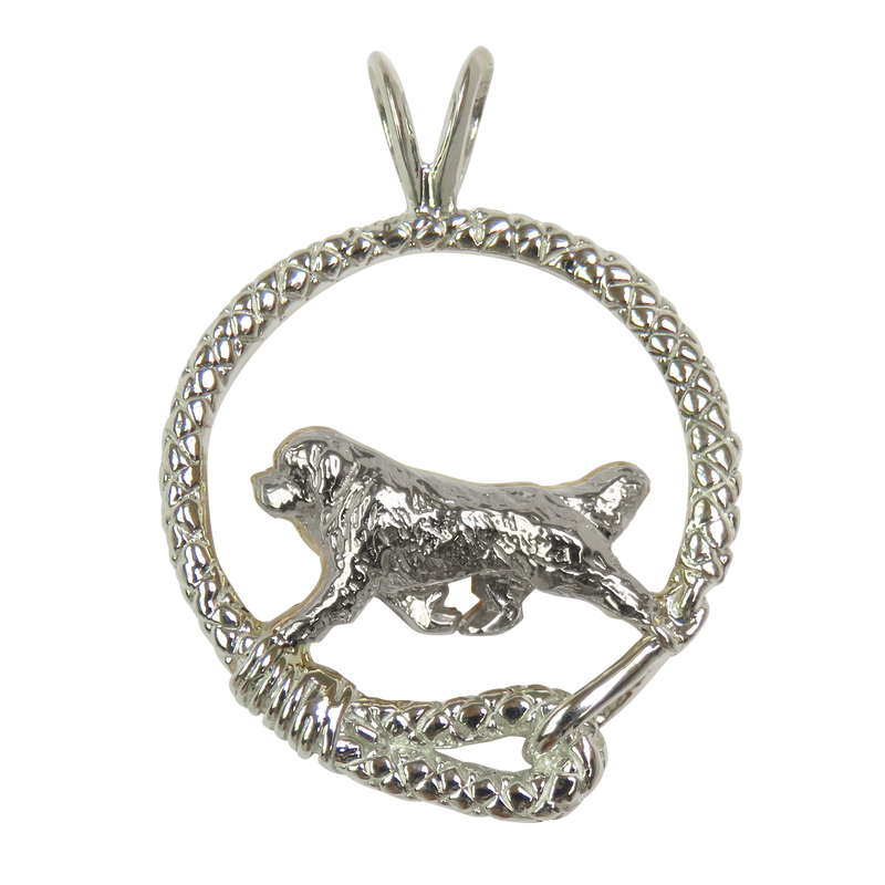 Newfoundland in Solid Sterling Silver Leash Pendant