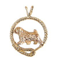 Solid 14K Gold Norfolk Terrier Leash Pendant