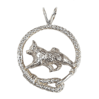 Norwegian Elkhound in Solid Sterling Silver Leash Pendant