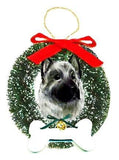 Norwegian Elkhound Wreath and Bone Ornament