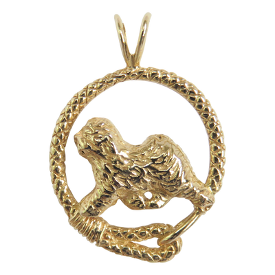 Solid 14K Gold Old English Sheepdog Leash Pendant