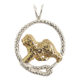 Solid 14K Gold Old English Sheepdog in Sterling Silver Leash Pendant