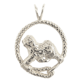 Old English Sheepdog in Solid Sterling Silver Leash Pendant
