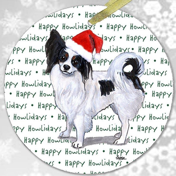 "Papillon, Tri Color ""Happy Howlidays"" Ornament"