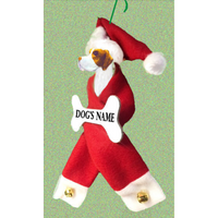 Pointer Santa Bone Ornament