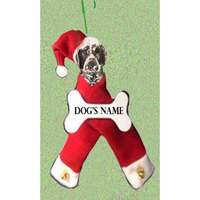 German Shorthaired Pointer Santa Bone Ornament