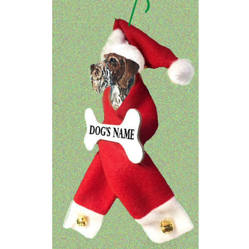 German Wirehaired Pointer Santa Bone Ornament