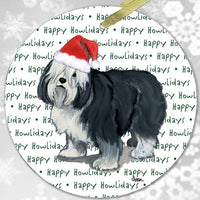 "Polish Lowland Sheepdog ""Happy Howlidays"" Ornament"