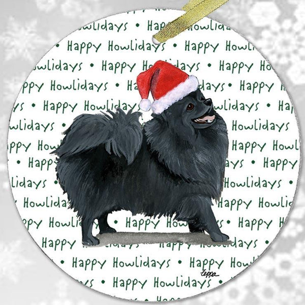 "Pomeranian, Black ""Happy Howlidays"" Ornament"