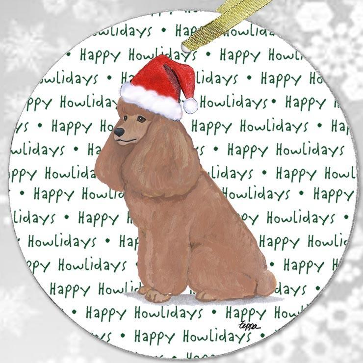 "Poodle Apricot ""Happy Howlidays"" Ornament"