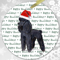 "Poodle Black ""Happy Howlidays"" Ornament"