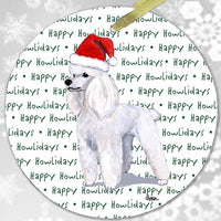 "Poodle White ""Happy Howlidays"" Ornament"