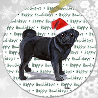 "Pug, Black ""Happy Howlidays"" Ornament"