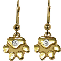 14K Gold Dog Paw Earrings with 2MM Diamond Accents