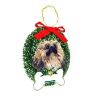 Pekingese Wreath and Bone Ornament