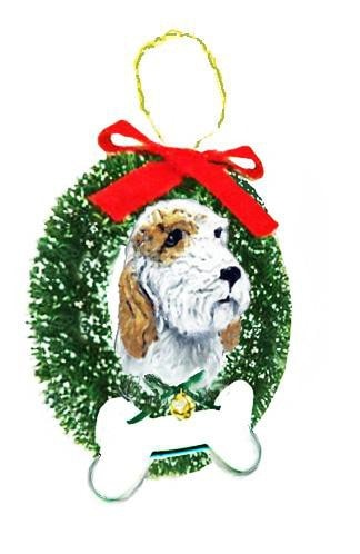 Petit Basset Griffon Vendeen Wreath and Bone Ornament