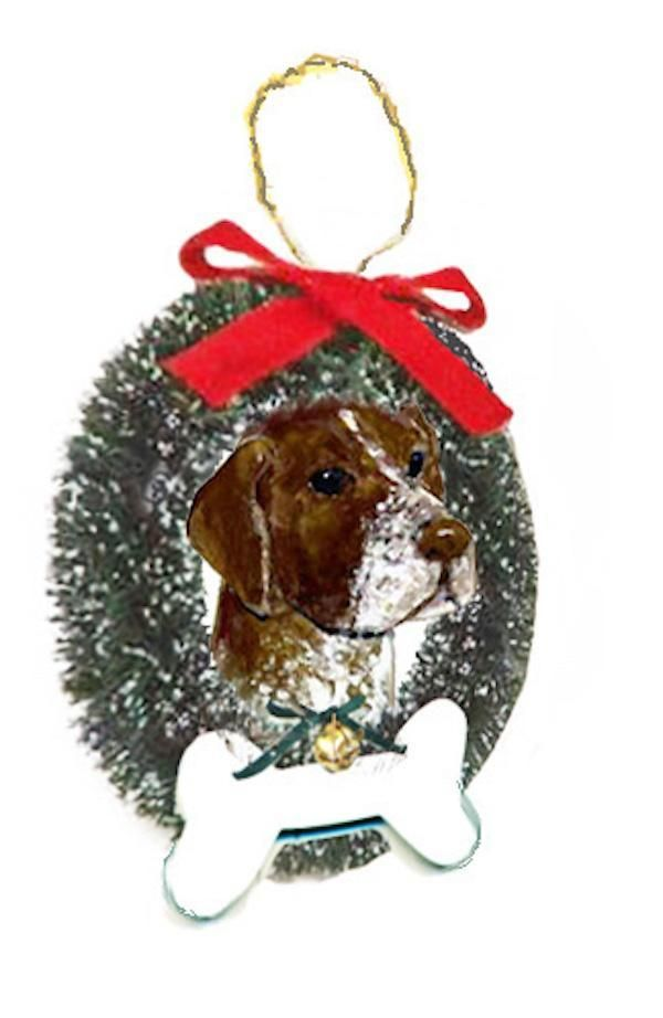 German Shorthaired Pointer Wreath and Bone Ornament