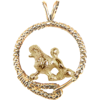Solid 14K Gold Poodle Leash Pendant