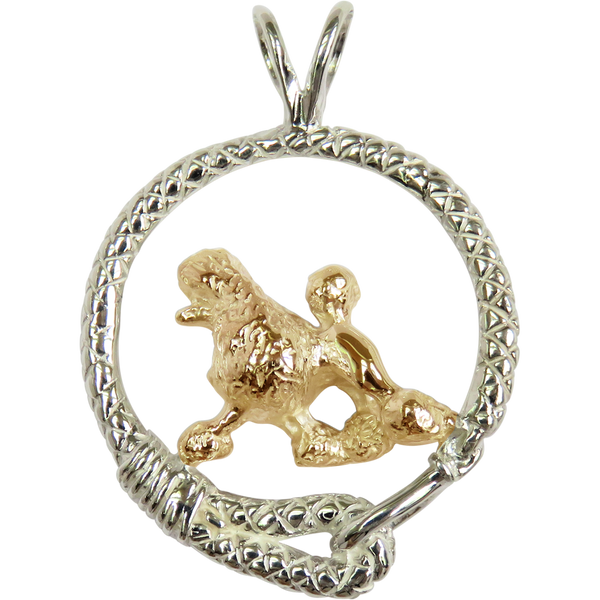 Solid 14K Gold Poodle in Sterling Silver Leash Pendant
