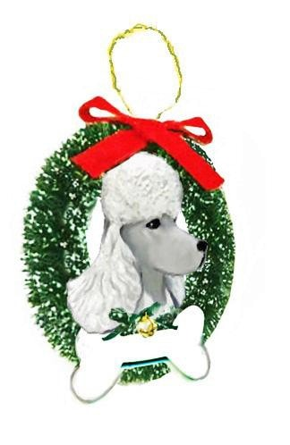 Poodle Wreath and Bone Ornament