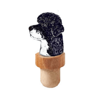 Portuguese Water Dog Head Cork Bottle Stopper