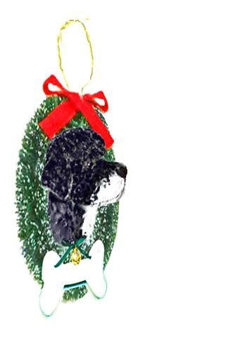 Portuguese Water Dog Wreath and Bone Ornament