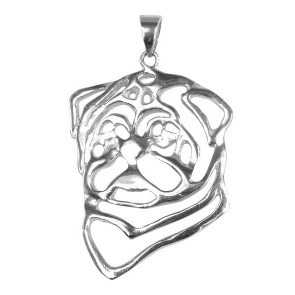 Pug Sterling Silver Cut Out Pendants
