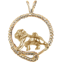 Solid 14K Gold Pug Leash Pendant