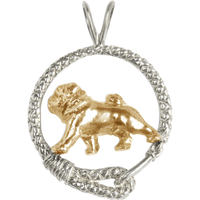 Solid 14K Gold Pug in Sterling Silver Leash Pendant
