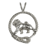Pug in Solid Sterling Silver Leash Pendant