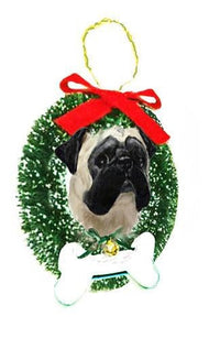 Pug Wreath and Bone Ornament