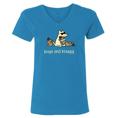 Pugs And Kisses - Ladies T-Shirt V-Neck