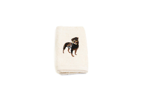 Embroidered Rottweiler Hand Towel