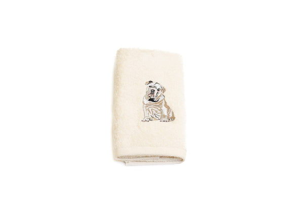 Embroidered Bulldog Hand Towel